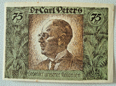 Notgeld German Colonies 75 Pfg 1921 Dr.CARL PETERS Kolonialgedenktag Old (2515)