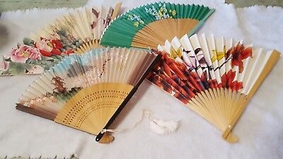 Lot of 4 FOLDING FANS  ESTATE FIND floral and birds wooden