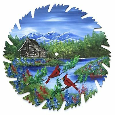 Hand Painted Saw Blade Art  Mountain Summer Log Cabin and Cardinals