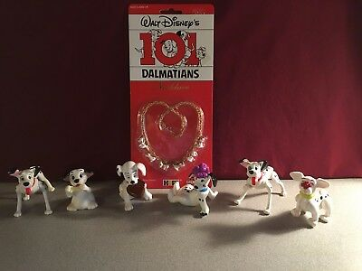 Lot of 6  Plastic Dalmation Dogs and Vintage 1991 Necklace