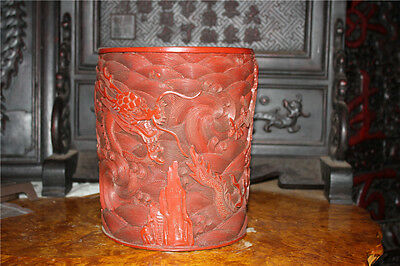 "9.2"" Rare Chinese Collect Lacquer Wood Hand-carved Dragon Vase Bottle Pot Jar"