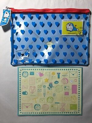 New Doraemon Large Clear Pencil Multi Use Bag & Stickers
