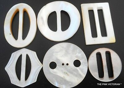 LOT of 6 solid CARVED Mother of Pearl Sea SHELL Belt BUCKLES iridescent Shine