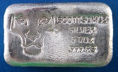 "Vintage Rare Scottsdale ""Prey"" 5 Ounce .999 Poured Silver Bar - No Longer Made!"