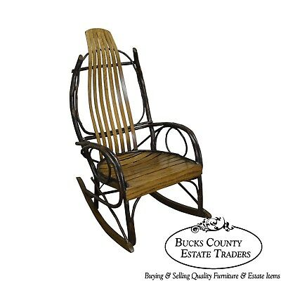 Vintage Bent Wood Hickory & Oak Twig Rocker