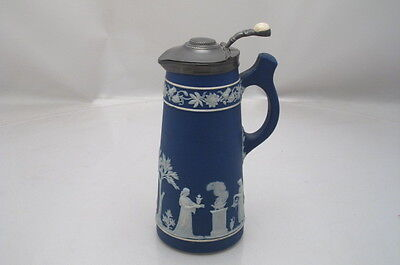 Antique Victorian Blue Dip Jasperware Claret Jug