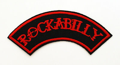 ROCKABILLY PATCH - EMBROIDERED ROCKER psychobilly kar kulture pin-up