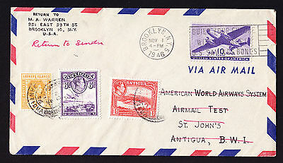 USA & KGVI KG6 Leeward & Antigua stamps on Pan American Test Airmail 1946 cover