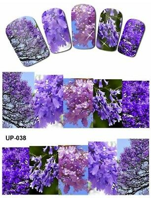 Full Wrap Nail Art Stickers Decals Transfers Purple Flowers (UP-038)