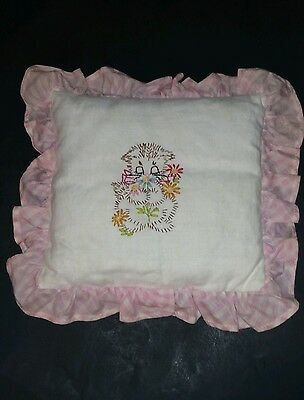 """Vintage Hand Embroidered Kitty Cat PILLOW - Kitten w/ Flowers Pink Trim 11 x 11"""""""