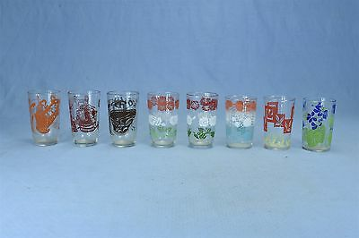 Vintage MIXED LOT of 8 SWANKY SWIG GLASSES BUTTER CHURN FISH NET TEA TIME  #3215