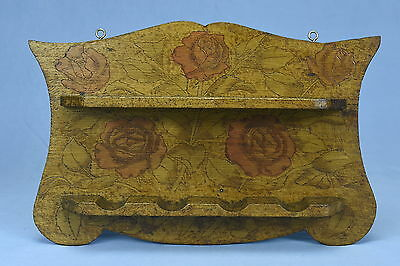 Antique 1909 FLEMISH ART PIPE RACK HOLDER with ROSES WALL MOUNT