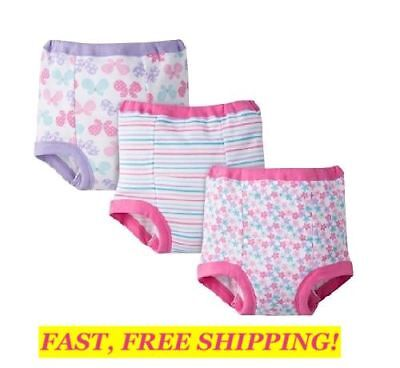 GERBER Toddler Girl's 3-PACK Purple/Pink TRAINING PANTS Size 2T BUTTERFLY STRIPE