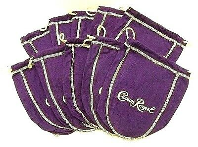 Crown Royal Bags Purple 375 ml Lot of 10 Cotton Felt Drawstring New Old Stock
