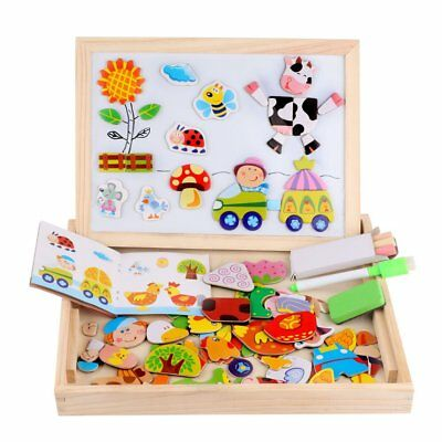 Wooden Magnetic Puzzle Toddler Boy & Girl Toy Educational Game Xmas Gift for Kid