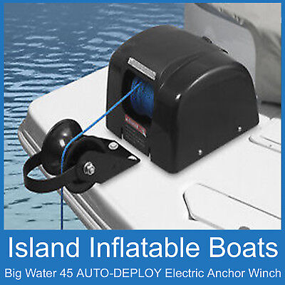 12V ANCHOR DRUM WINCH ✱ ISLAND BIG WATER AUTO-DEPLOY Model 45 ✱ Boat < 22ft, 7m