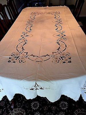 """Absolutely Exquisite Hand Embroidered MADEIRA Tablecloth 102"""" x 64"""""""