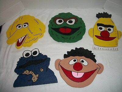 Set of 5 Handcrated & Hand Painted Wood Sesame Street Character Wall Plaques