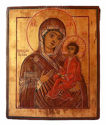 Antique 19th C Russian Hand Painted on Gold Wooden Icon of Our Lady of Smolensk