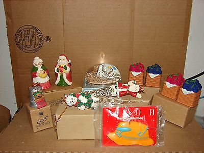 Lot of 8 used Avon Ornaments, Salt & Pepper Shakers, Paperweight, & Keychain,