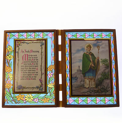 Stained glass double frame with An Irish Blessing & St. Patrick image 18cm gift