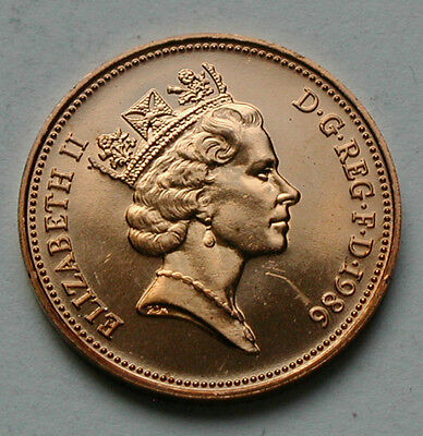 1986 UK (British) Elizabeth II Coin - Two Pence (2p) - UNC red (from mint set)