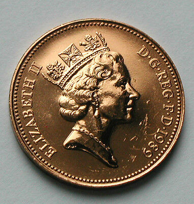 1989 UK (British) Elizabeth II Coin - Two Pence (2p) - UNC red (from mint set)