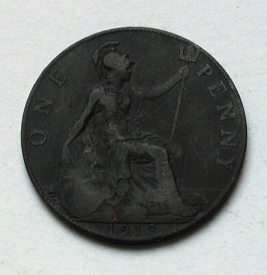 1913 UK (Great Britain) George V Coin - One Penny (1d) - dark patina