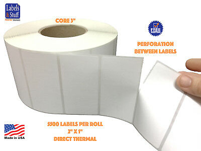 """2 Rolls 2"""" x 1"""" Direct Thermal Zebra FASSON Labels 3"""" inch Core 5500 Labels 2x1"""