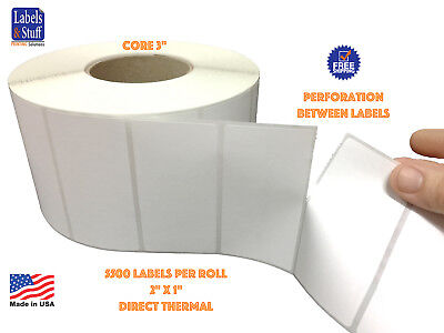 """16 Rolls 2"""" x 1"""" Direct Thermal Zebra FASSON Labels 3"""" inch Core 5500 Labels 2x1"""