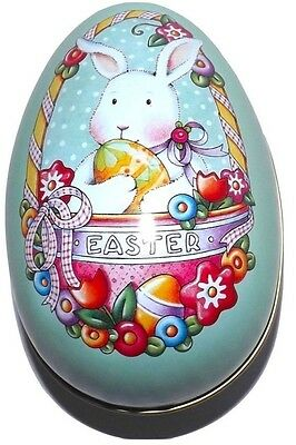 """Mary Engelbreit Easter Bunny Rabbit Egg Tin Metal Collectible Container 5"""" 2000"""