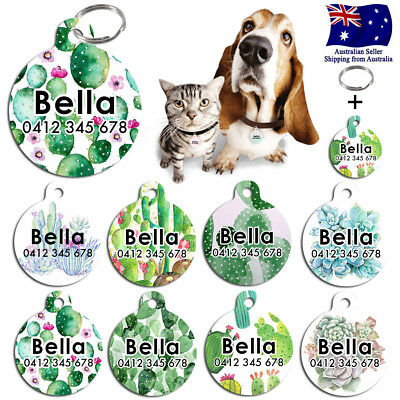 Metal Personalized Pet cat dog Tag Custom Plant ring Name Tags Cactus