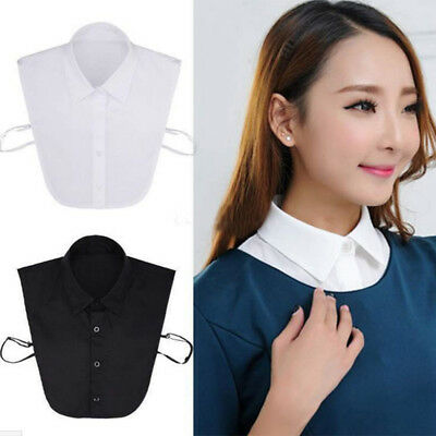 Men Women Career Business Fake Half Shirt Blouse-Peter Pan Detachable Collar