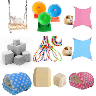 Pet Hamster Squirrel Hanging Bed Anti-Slip Feet Pad Chewing Toy Traction Rope
