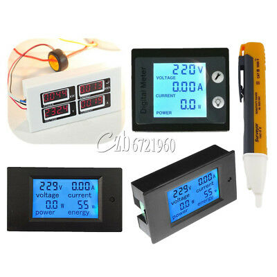 0-100A LCD Digital Volt Current Power Panel Meter Ammeter Voltmeter AC 80-260V