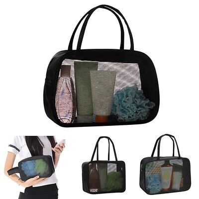 Hot Bathing Bag Black Mesh Design Shower Pouch Large Capacity Storage Organizer