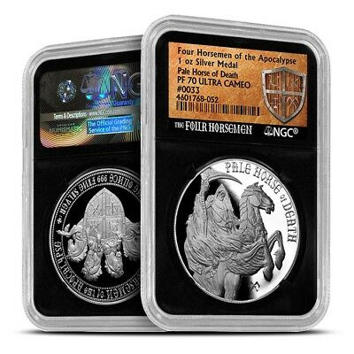 Four Horseman Of The Apocalypse Series - Pale Horse Of Death Silver NGC PF70