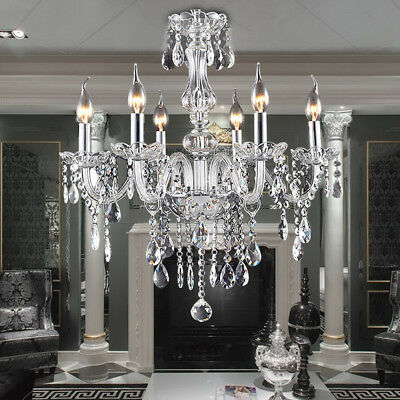 Classic Vintage Crystal Candle Chandeliers Lighting 6-Light Pendant Ceiling Lamp