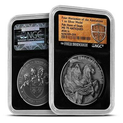 Four Horseman Of The Apocalypse Series - Pale Horse Of Death Silver NGC MS70