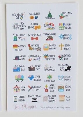 36 AU / UK Holiday Planner Stickers for Erin Condren etc. Christmas, easter