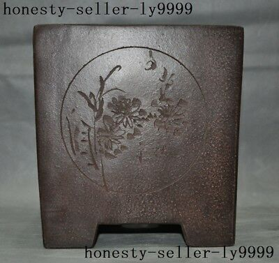 old Chinese Yixing Zisha pottery flower grass Text flower pot Bonsai Potted pots