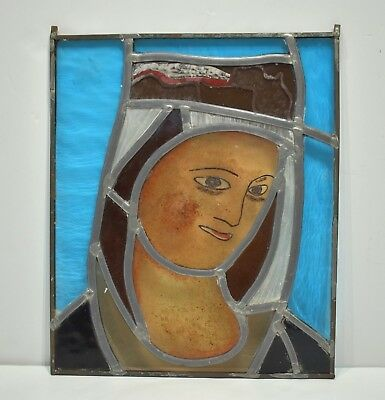 Antique Stained Glass Abbey Monastery Window Panel | Mother Mary | Belgium 1900s