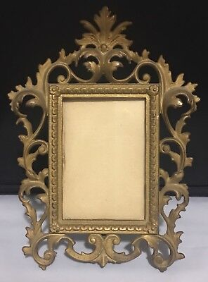 Vintage Art Nouveau Bronze Or Brass Dore Photo Mirror Easel Frame 5x7