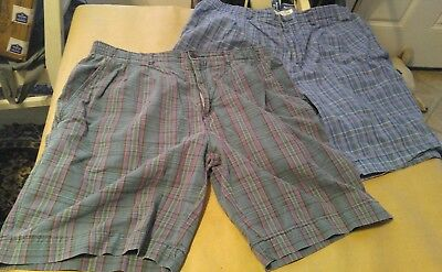 2 pair of vintage 80s preppy shorts cotton cargo 34 plaid beach skate mens rad