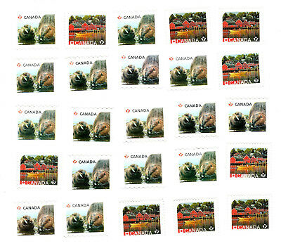25 Uncancelled Permanent P Stamps Canada Off Paper No Gum Face Value 21,25$ FV