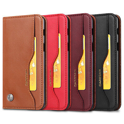 Classic Business Magnetic Leather Card Holder Wallet Stand Flip Case Cover For