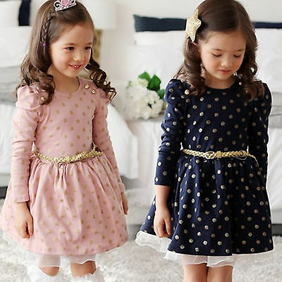 Kid Girl Dress Bow Polka Dot Long Sleeve Princess Party Gown Formal Belted Dress