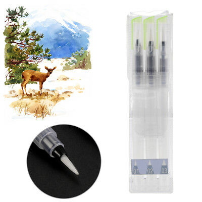 3pcs Refillable Water Brushes Ink Pen Set for Watercolor Painting Tool AC1139