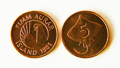 Iceland 1981 5 Aurar 10 Uncirculated Coin Lot (KM24)