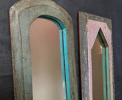 Antique/vintage Indian. Large, Tall Pair Of Mughal Temple Mirrors. Teal & Lilac.